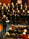 Dr. Rensink-Hoff conducting the McMaster Women's Choir